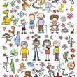 Doodles of happy family — Stock Vector #77055123
