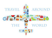 Icons set of traveling on airplane — Stock Vector