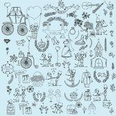 涂鸦婚礼套 — 图库矢量图片