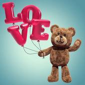 Cute teddy bear holding air balloons — Stockfoto