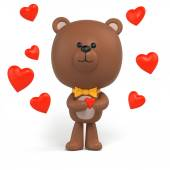 Little chocolate teddy bear holding red heart — Stock Photo