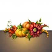 Seasonal decoration with pumpkins and flowers — Stock Photo