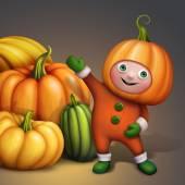 Cartoon character in pumpkin costume — Stock Photo