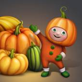 Cartoon character in pumpkin costume — Stock Photo