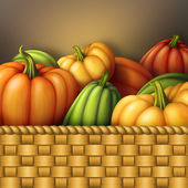 Pumpkins in wicked wooden basket — Stock Photo