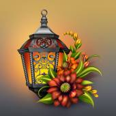 Ornate lantern with autumn flowers — Stock Photo