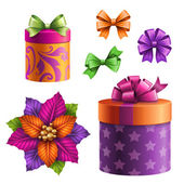 Festive gift boxes and bows — Stock Photo