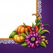 Elemento decorativo con calabazas y flores — Foto de Stock