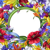 Marco floral redondo — Foto de Stock