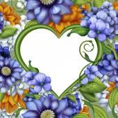 Marco flores corazón — Foto de Stock
