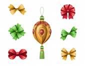 クリスマス ボールと弓 — ストック写真