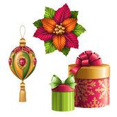 Christmas ball and bow — Stock Photo