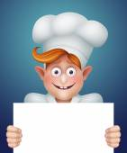 Professional cook holding blank banner — Stock Photo