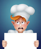 Sad cook holding blank banner — Stock Photo