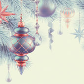 Vintage Christmas ornaments illustratio — 图库照片