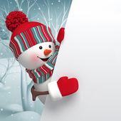 Cartoon snowman holding blank banner — Stockfoto