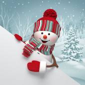 Cartoon snowman holding white banner — Foto Stock