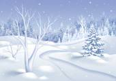 White winter nature landscape illustration — Stock Photo