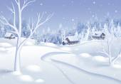 White winter village landscape illustration — Photo