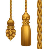 Classical baroque gold tassels set — Foto Stock