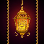 Gold decorative lantern hanging on chain — Stock Photo