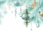 Fir twigs and glass balls — Stock Photo