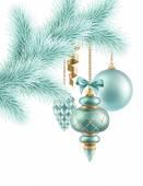 Kerstballen op tak van de zilverspar — Stockfoto