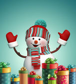 Snowman and  Christmas gifts — Stock Photo