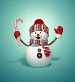 снеговик, холдинг конфета — Стоковое фото