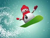 Snowman jumping on snowboard — Photo