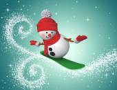Snowman snowboarding — Stockfoto