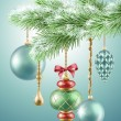 Christmas tree branch with glass balls — Stock Photo #56751413