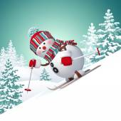 Snowman skiing downhill — Stock Photo
