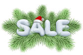 Christmas tree with sale snow text — Stock Photo