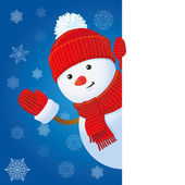 Cute snowman with banner — Stock Photo