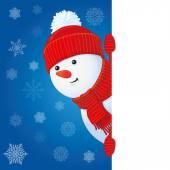 かわいい雪だるまのバナー — ストック写真