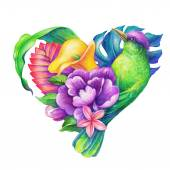 具有异国情调的鸟和花的心 — 图库照片