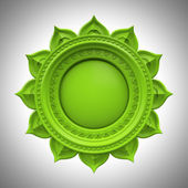 Green Anahata heart chakra base, 3d abstract symbol, isolated color design element — Stock Photo