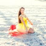 Girl posing on the beach — Stock Photo #69620973