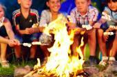Happy kids roasting marshmallows on campfire — Stock Photo