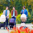 Three friends, fathers walking with buggies in city park — Stok fotoğraf #54925735