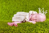 Little princess sleeping on the lawn, two weeks old — Stock Photo
