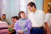 Happy people with disability in rehabilitation center — Stock Photo
