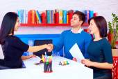 Satisfied clients, couple after successful business negotiations in office — Stock Photo