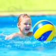 Cute kid playing in water sport games in pool — Stock Photo #70718489