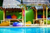 Beautiful tropical pool with thatch and colorful pads — Stock Photo