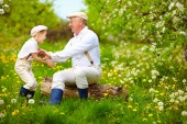 Happy grandfather and grandson playing in spring garden — Stock Photo