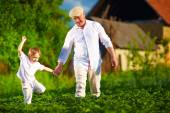 Happy grandfather and grandson walking among potato rows at their homestead — Stock Photo