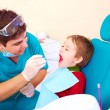 Small kid, patient visiting specialist in dental clinic — Stock Photo #74555775