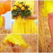 Collage in yellow tones of beautiful young woman on summer wheat field — Stock Photo #76934391